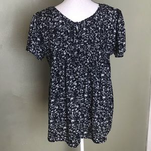 Dina Be Blue White Floral Blouse Top Size L